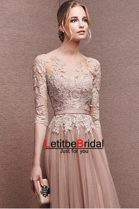 Long Tulle Lace Champagne Prom Dresses ,Half Sleeves Formal Evening Dresses Graduation Party Dresses