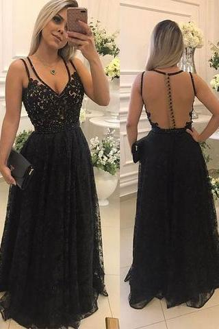 Black Lace Prom Dresses, Long with Illusion Back Elegant Formal Evening Gown Party Dress,Prom dress