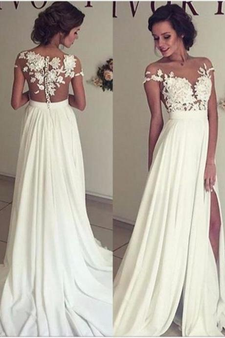 Elegant Lace Appliques Wedding Dress, Long Chiffon Split Wedding Dresses, Formal Wedding Wear, Chiffon Prom Dress, White Wedding Dress