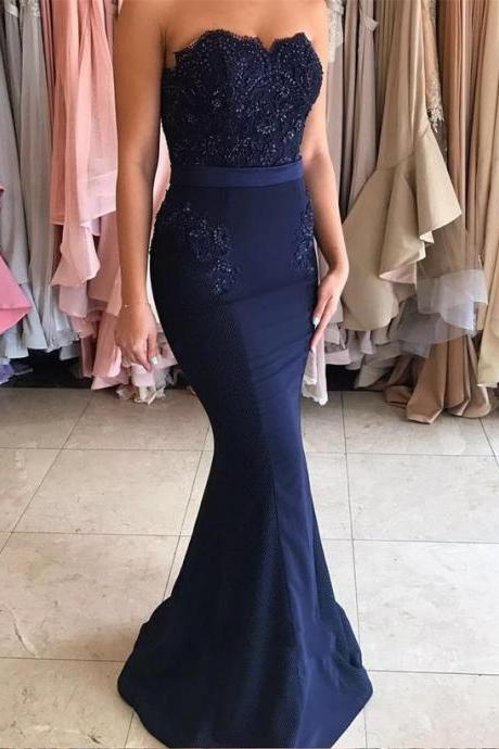 Navy Blue Prom Dress, Prom Dresses, Mermaid Prom Dress, Navy Blue Long Prom Dress, Strapless Mermaid Appliques Long Prom Dress, Woman Evening Dress