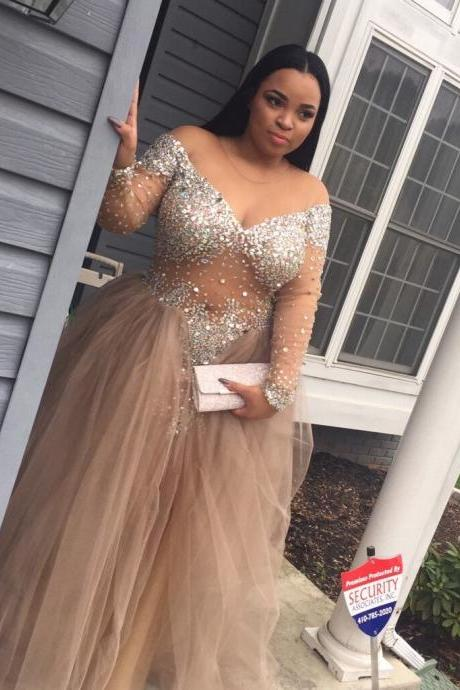 Plus size Prom Dress, Evening Dress Long Sleeves, Tulle Formal Dress, Off Shoulder Prom Dress, Prom Gown Plus size,Champagne Party Dress, Graduation Dress Cheap, Maxi Dress