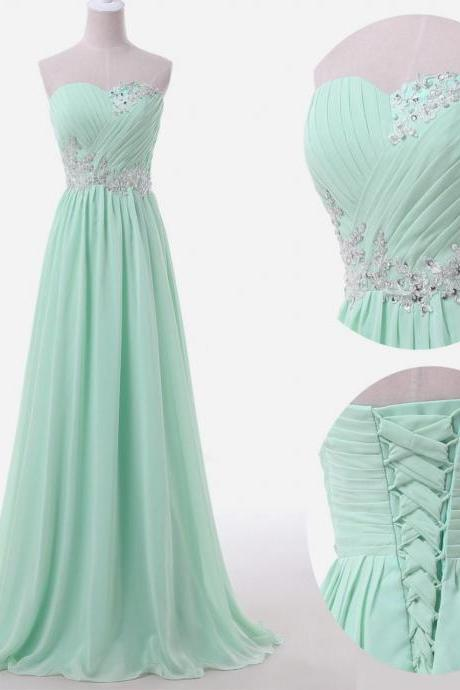 Sweetheart Lace Applique Chiffon Beading Evening Dress Prom Dress Custom Made
