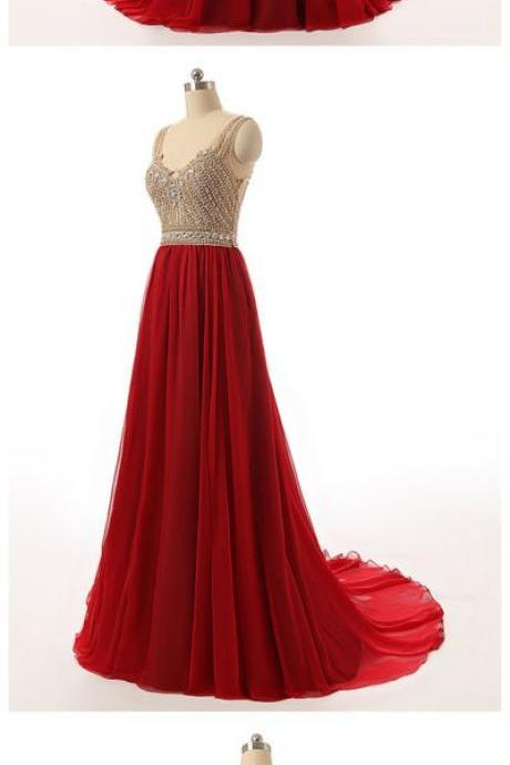 Elegant V Neck Red Beaded Bridesmaid Dresses, Beautiful Floor Length Backless Chiffon Prom Dresses Wedding Party dresses Formal Gowns