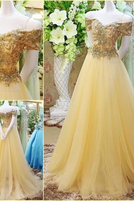 Off the Shoulder Prom Dress,Beaded Prom Dress,Long Prom Dress,Long Tulle Prom Dress,Sexy Beaded Party Dress,Long Evening Dress