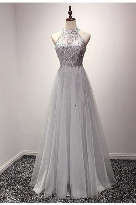Gray prom dresses,prom dress,prom gowns,Tulle Long Prom Dress With Crystals