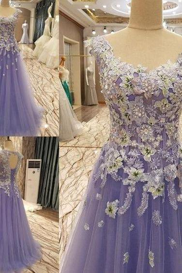 Light purple tulle long prom gown, lace evening dress, wedding dress