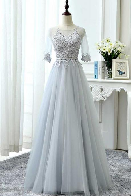Gray tulle lace long prom dress, tulle lace bridesmaid dress, lace wedding party dress