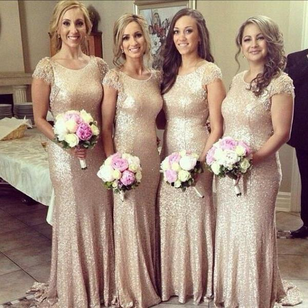 Bridesmaid Dress,New Fashion Lace Cap Sleeves Sequined vestido de noite Dress to Wedding Party Long Gold Bridesmaid Dress