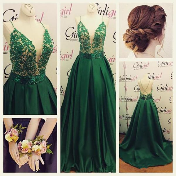 Deep V Prom Dress Sexy Prom Dress Green Prom Dress Beautiful Prom Dress Spaghetti Straps Prom Dress Lace With Satin Prom Dress Long Prom Dress