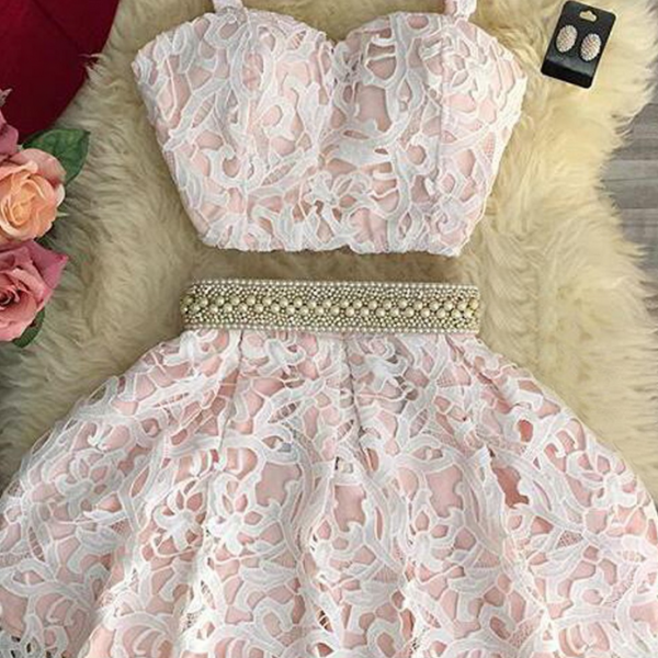 sexy-two-piece-sweetheart-mini-pink-lace-homecoming-dress-with-pearls homecoming dress prom dress