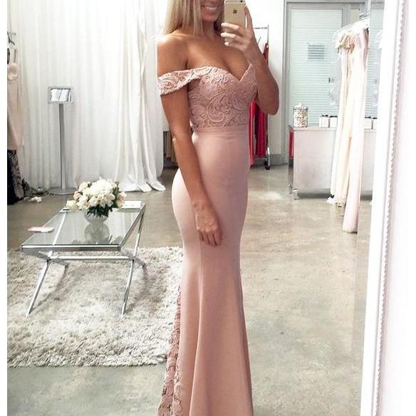 Pink Lace Satin Mermaid Prom Dress, Prom Dresses,Evening Dress,bridesmaid dress