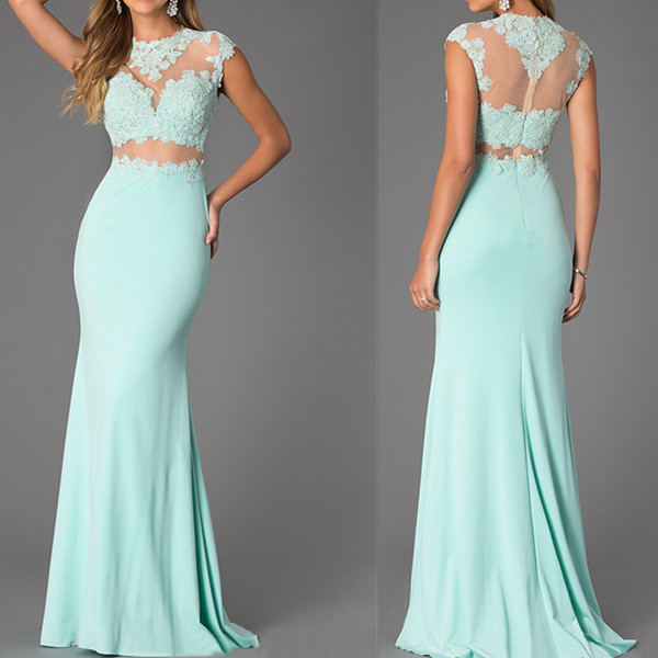 Custom Made Two-Piece Prom Dresses,Mint Lace High Neck Evening Dresses,Bare-Midriff Floor Length Prom Dress ,Handmade Cheap Prom Dresses,Prom Dress