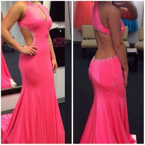 Pink Prom Dress, Backless Prom Dress, Sexy Prom Dress, Chiffon Prom Dress, Inexpensive Prom Dress, Pretty Prom Dress,Charming Backless Evening Dresses