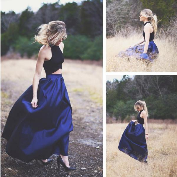 halter dresses,navy blue prom gowns,women's party dress,two piece prom dress,prom dresses ,Evening Dresses