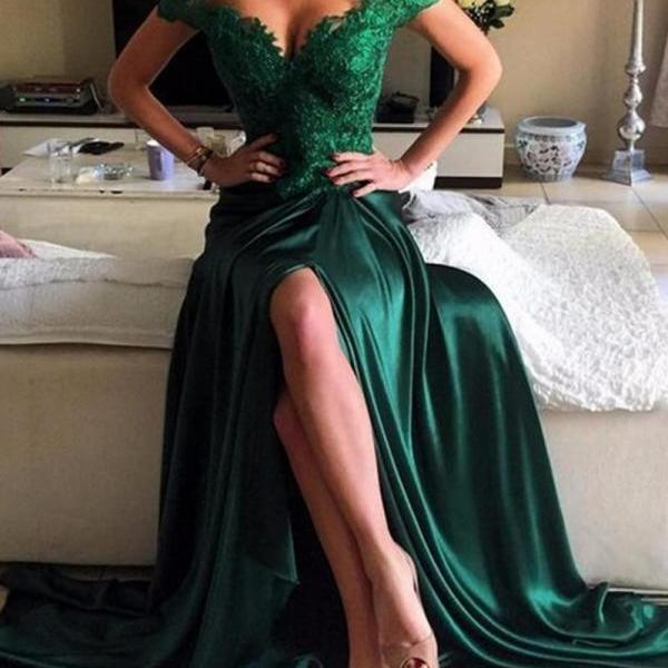 Custom Made Dark Green Prom Dress,Sexy Off The Shoulder Evening Dress,Side Slit Party Dress,High Quality Evening Dresses