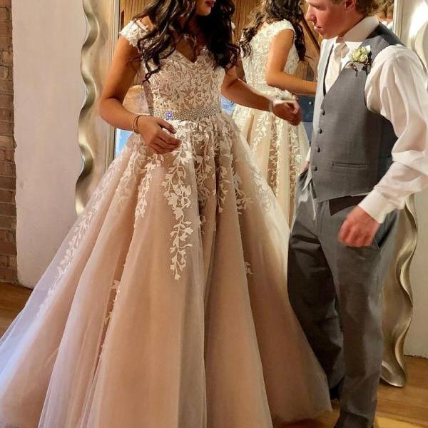 A Line Lace Appliqued Beaded Prom Dresses Long, Cheap Nude Quinceanera Dress, Cap Sleeves Prom Dress,Backless Evening Dress