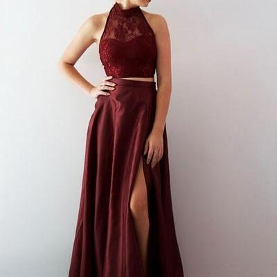 Two Piece High Neck Burgundy Long Prom Dress with Side Slit Evening Dress