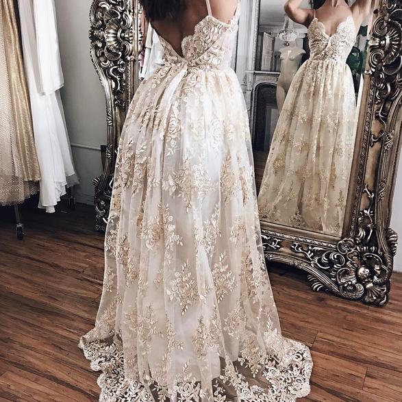 Champagne Lace With White Lining Prom Dresses,Princess Prom Dresses,Lace Prom Dresses,Evening Gowns,Women Dresses,Backless Prom Dresses,Lace Prom Dresses,V-neck Prom Dress.Wedding Dresses