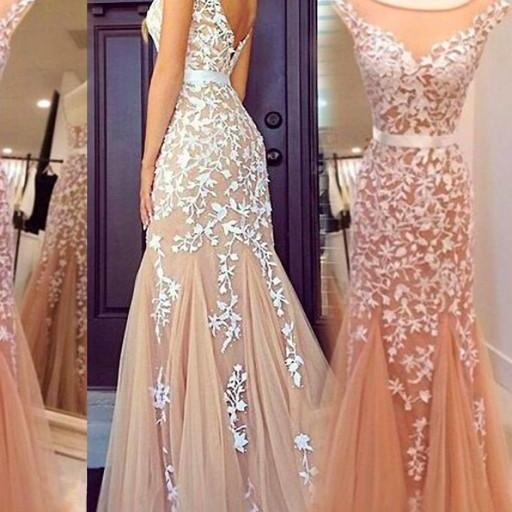 Glamorous Mermaid Bateau Prom Dress, Tulle Floor Length Prom Dresses,Champagne Cocktail/Prom Dress With Appliques Prom Dress,Cheap Prom Dresses
