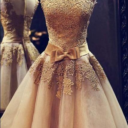Gold lace prom dress, short prom dress,High Neck Prom Dresses, Applique Prom Dresses,Evening Gowns