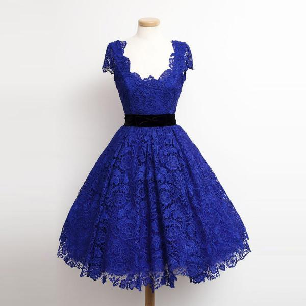 Charming Royal Blue Party Dress,Lace Cap Sleeve Prom Dresses,Party Dresses,Evening Gowns