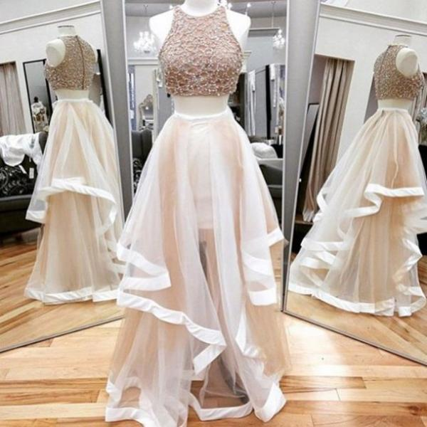 A Line Prom Gown,Two Piece Prom Dress,Evening Gowns,2 Pieces Party Dresses,Champagne Evening Gowns,2 Pieces Formal Gown For Teens,Floor Length Prom Dress,Evening Gowns