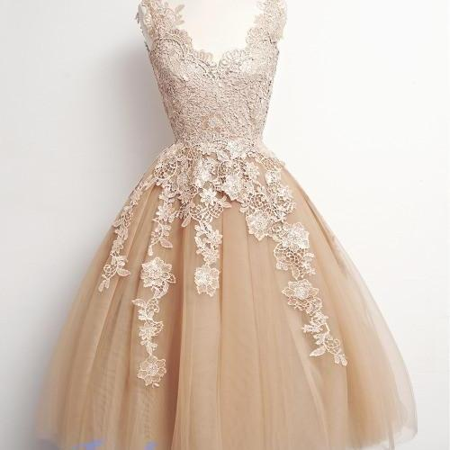 Homecoming Dress,Lace Homecoming Dresses,Knee Length Prom Gown,Champagne Homecoming Gowns,Homecoming Dress,Ball Gown Homecoming Dresses,Sweet 16 Dress For Teens
