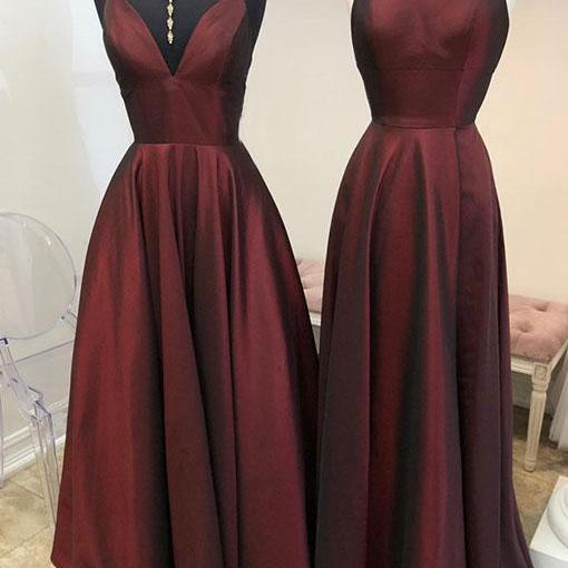 Burgundy long prom dress, simple evening dress,prom dresses