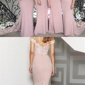 Mermaid Off the Shoulder Blush Bridesmaid Dress with Lace