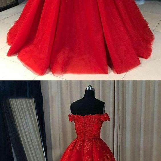 red off shoulder ball gowns for special occasion, fashion formal evening dresses, fashion prom dresses with train