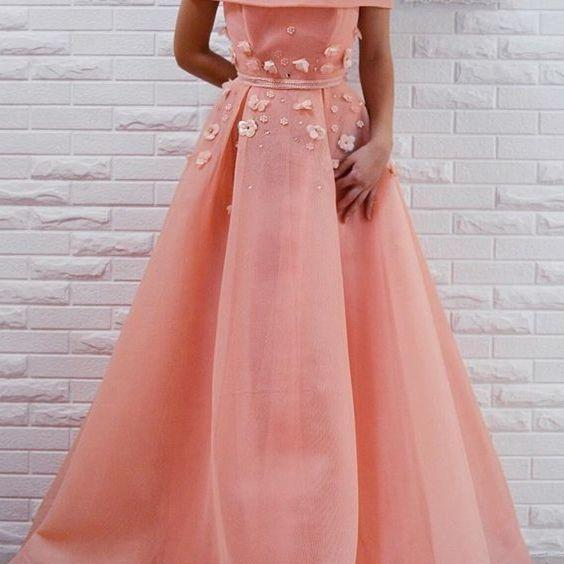 fashion off the shoulder prom dresses,pink prom dress with appliques,elegant a-line evening dresses,off the shoulder party dress with sash