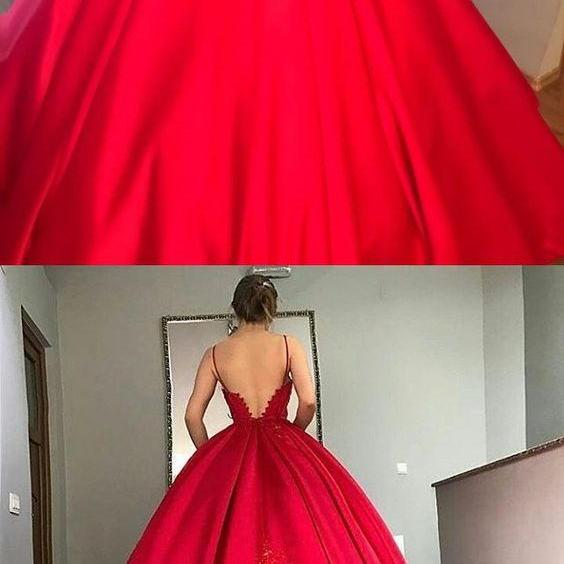 Red ball gowns, chic v-neck formal prom party dresses, fashion evening dresses with appliques