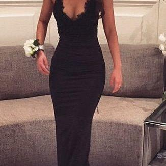 Hot Sell Spaghetti straps prom Dress,Sexy Black lace sexy evening gown mermaid Prom dresses For New Teens,cheap Sexy Backless Prom Dresses,Beading Evening Dress, Prom Dress, formal dresses,Wedding guests dresses