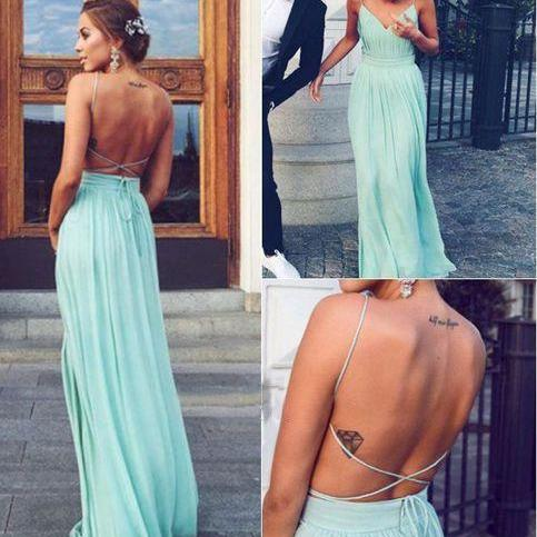 Long prom dresses, Green prom dress,simple chiffon long prom dress,A-line V-neck evening dresses,party dresses, Fashion Party Dress,Backless Party Dresses,Wedding Guest Prom Gowns, Formal Occasion Dresses,Formal Dress