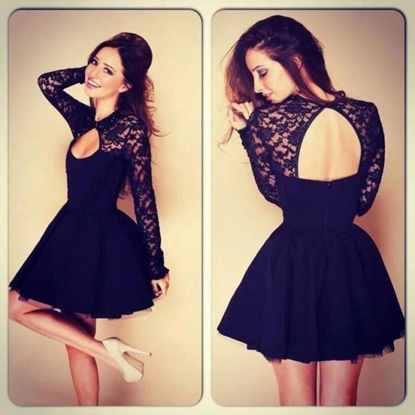 Lace party dresses,Hollow out backless party Dresses,black lace long sleeve dress ,sexy a-line dress,Elegant short Lace Prom Dresses,Party dresses,formal dress,lace prom dresses