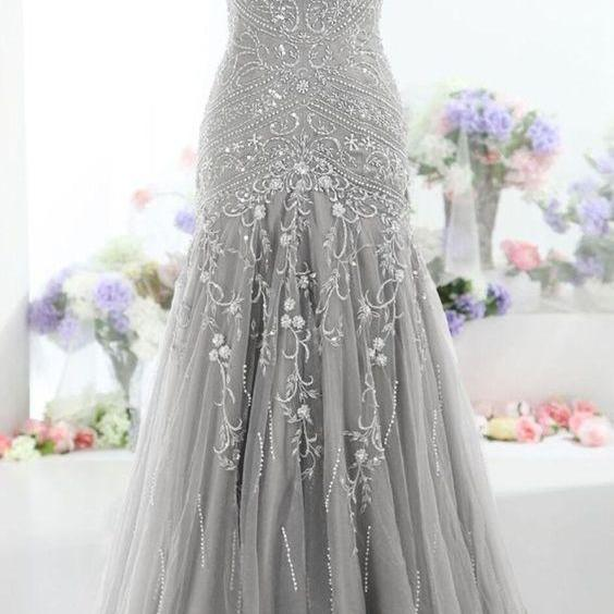 Pretty Gray Long Mermaid Beading Prom Dresses ,Charming V-Neck Evening Dresses,Party Prom Dresses ,Prom Dresses ,Formal Gowns Plus Size, Cocktail Dresses, formal dresses,Wedding guests dresses