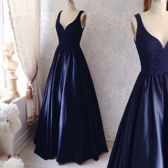 Custom Made Charming Navy Simple Prom Dresses, Satin Prom Dress, Sexy V-neck Prom Gown, Elegant Lace Prom Dress, prom Gowns Plus Size, Cocktail Dresses, formal dresses,Wedding guests dresses