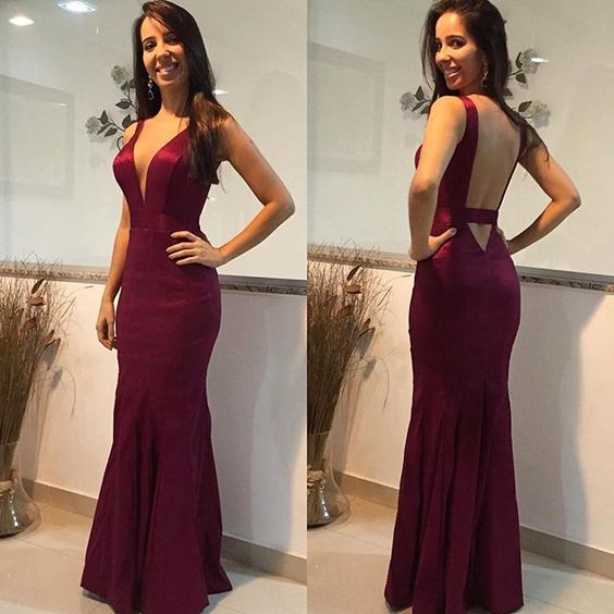 Open Back Mermaid Evening Dress, Sexy Long Prom Dress, Formal Gown,Evening Dresses,Prom Gowns, Formal Women Dress