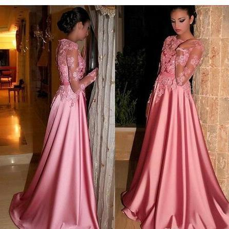 A Line Appliques Prom Dresses, Long Sleeve Evening Dress, Formal Dresses,Evening Dresses,Prom Gowns, Formal Women Dress