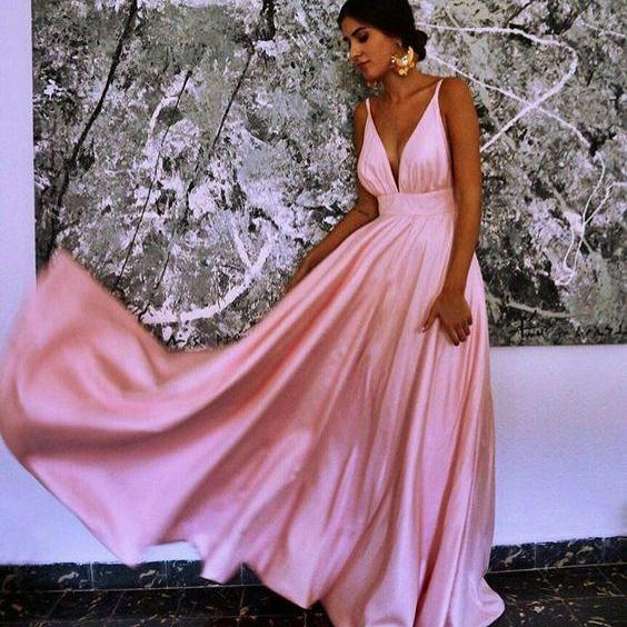 Pink Simple Sexy Evening Dress, V Neck Long Prom Dress, Sleeveless Prom Gown for Party,Evening Dresses,Prom Gowns, Formal Women Dress