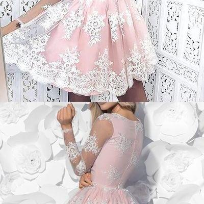 short pink homecoming dresses, pink lace short homecoming dress, party dress dancing dress,Evening Dresses,Prom Gowns, Formal Women Dress
