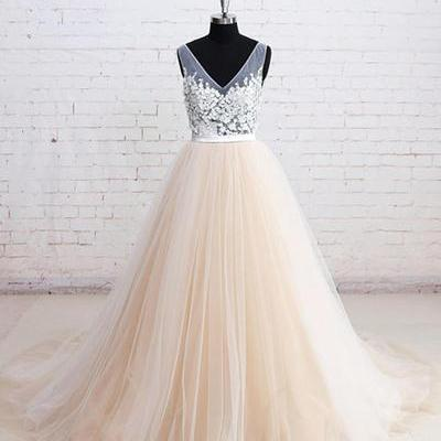 Champagne tulle wedding dresses,V neck long wedding dress, lace appliques bridal dresses,A-line formal prom dres,Evening Dresses,Prom Gowns, Formal Women Dress