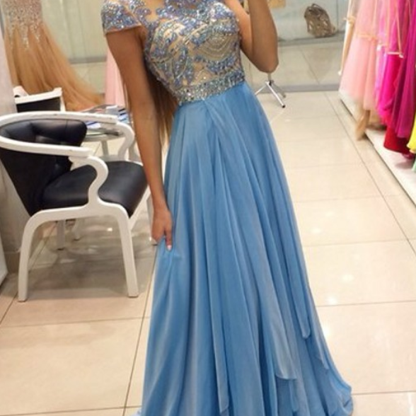 Charming Prom Dresses,High-Neck Prom Dress,A-Line Prom Dress,Chiffon Prom Dress,Beading Evening Dress