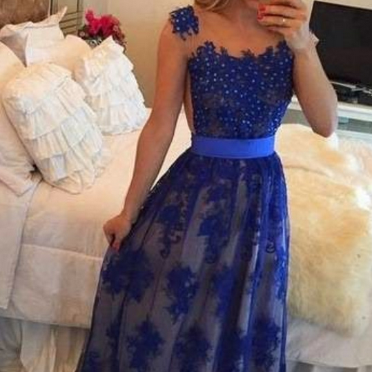 Long Sleeveless Prom Dress,Royal Blue Lace Evening Gowns with Beading,Floor Length Lace Formal Gown For Teens ,Long Evening Dresses ,Formal Gowns,Prom Dress Evening Dresses