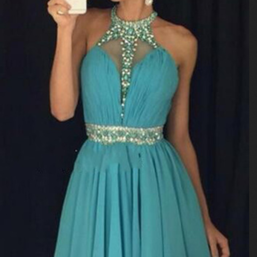 Blue Homecoming Dress,Sleevesless Homcoming Dress,Chiffon Homecoming Dresses,Sexy Prom Dresses,Sparkle Prom Dresses