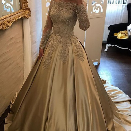 Ball Gown Off-the-Shoulder Prom Dresses,Champagne Satin Prom Dress with Lace Sleeves,Lace Prom Dresses,Evening Gowns,Formal Dress
