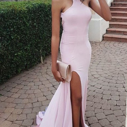 Sheath Round Neck Pearl Pink Open Back Prom Dress with Split,Prom Dresses,Evening Gowns,Formal Dress