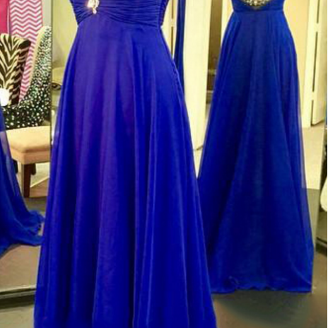 Illsuion Neck Long Chiffon Royal Blue Prom Dress with Beading evening dresses