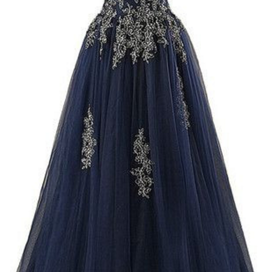 Strapless Navy Prom Dress with Appliques evening dresses