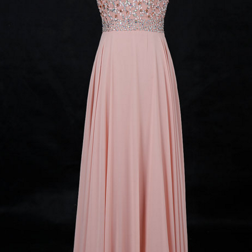 Round Neck Floor Length Chiffon Prom Dress with Beads,Charming Prom Dress, Sexy Prom Dresses,Evening Dress